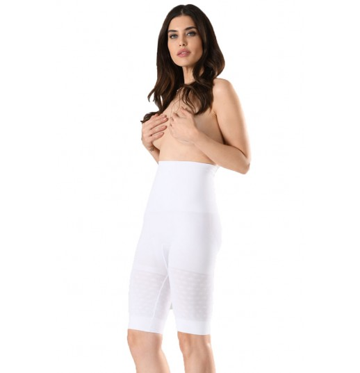 Corset dama cu pantalon ¾ Serena, cu banda de silicon, culoare alb, model 1228