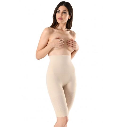 Corset dama cu pantalon ¾ Serena, cu banda de silicon, culoare bej, model 1228